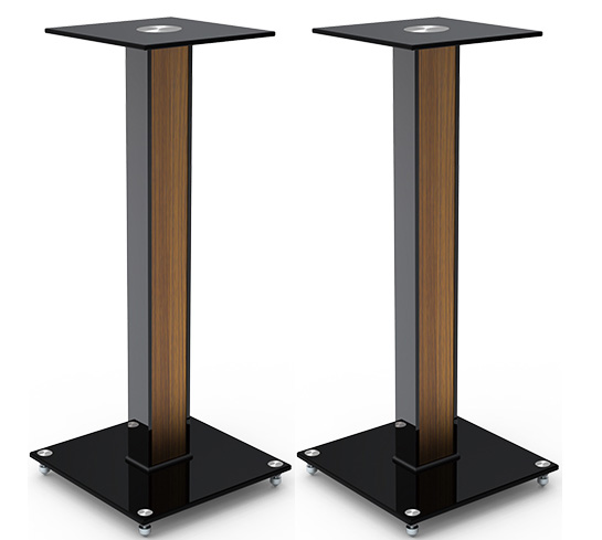 Aluminum glass and wood bookshelf speaker stand with